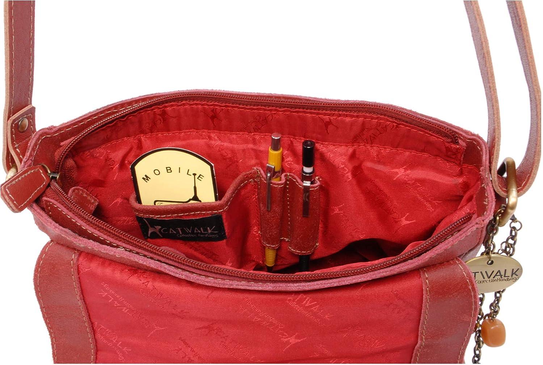 Catwalk Kollektion handväskor – Damer medium sliten läder messengerväska – kvinnors korskroppsorganisatör arbetsväska – surfplatta/iPad väska – SABINE M Röd