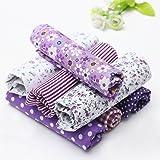 KINGSO 7PCS Cotton Fabric Bundles Quilting Sewing DIY Craft 19.7x19.7inch Purple