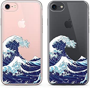 uCOLOR Japanese Wave Case for iPhone 6S Clear Case,iPhone 6 Transparent Clear Case for iPhone 8,iPhone 7 SE (2020) Hybrid TPU Bumper + Hard Back Cover for iPhone 6S/6/8/7 SE 2nd(4.7 inch)