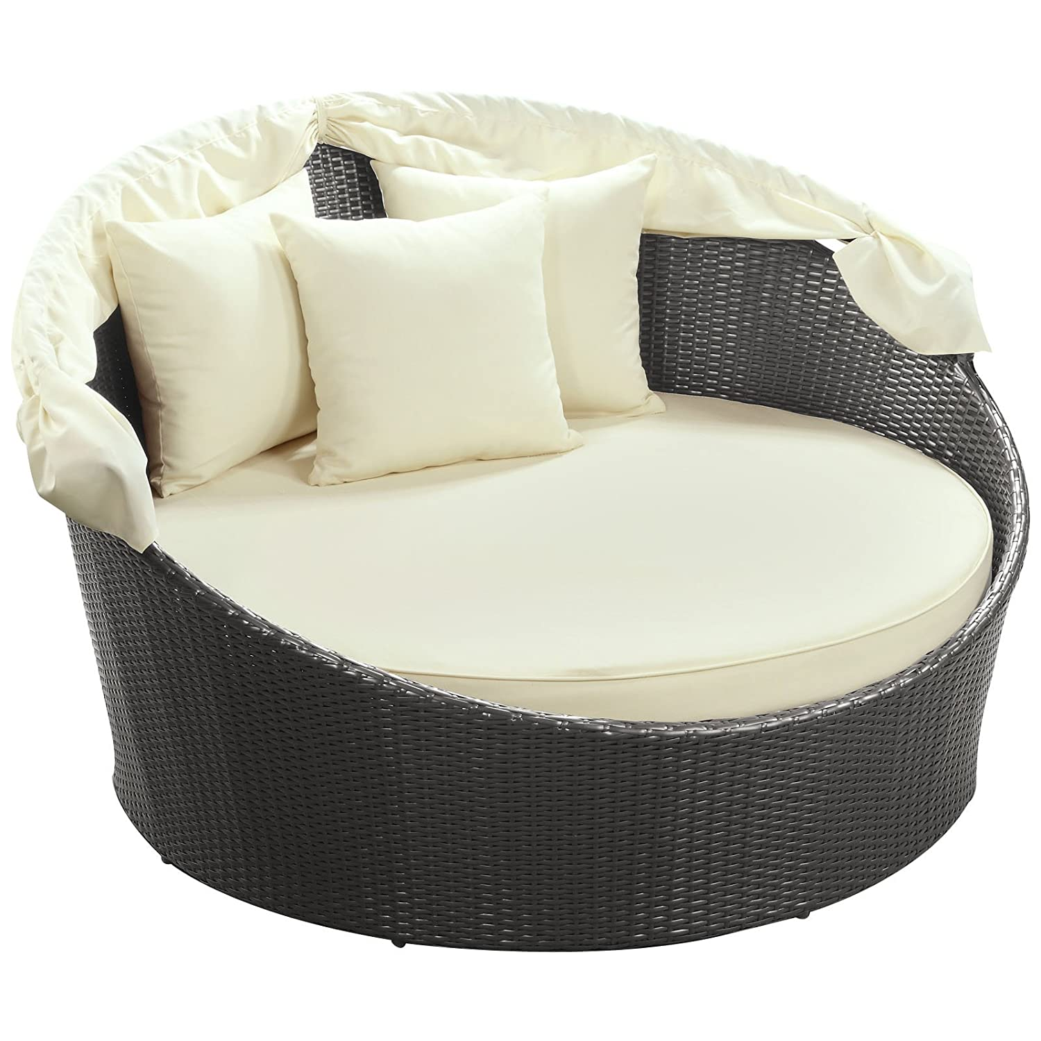 Amazon.com : Modway Siesta Outdoor Wicker Patio Canopy Bed In Espresso With  White Cushions : Patio Furniture Cushions : Garden U0026 Outdoor