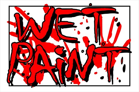 Hillman 839912 Wet Paint Sign Red And White Styrene Plastic 8x12 Inches 1