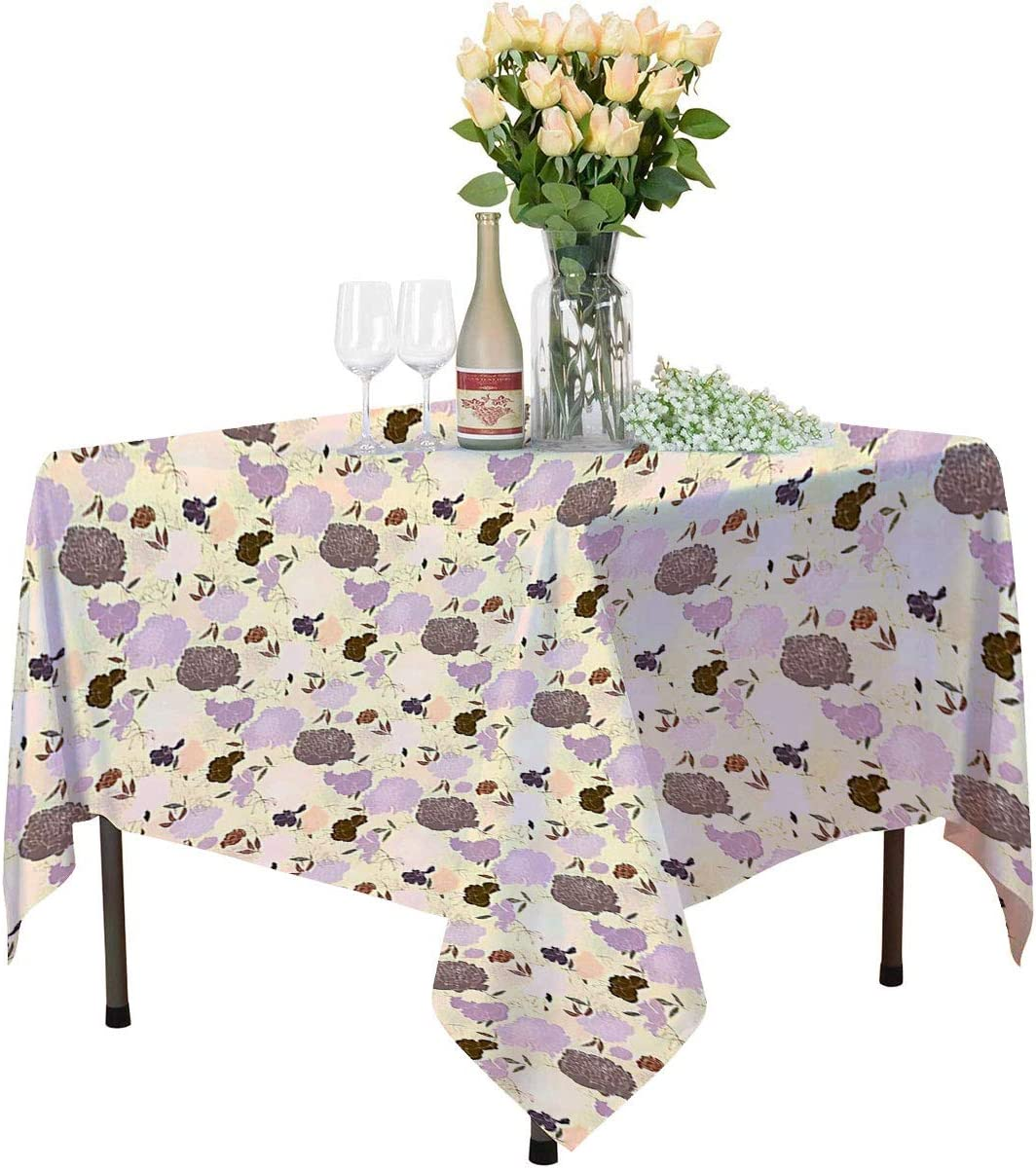 Peonies Rustic Tablecloth Classic Blossom Pastel Ornamental Garden Flowering Victorian Style Rococo Home Square Tablecloth W55 xL55 Mauve Cream Brown