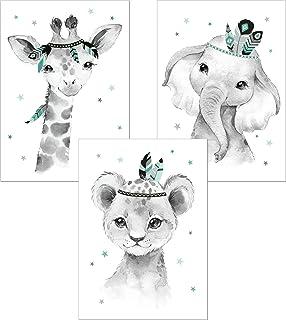 Indianer 6er Set mint grau Lalelu-Prints Bilder Kinderzimmer mint Poster Deko Dschungel-Tiere Indianer Deko Junge M/ädchen DIN A4 Kinderbilder Babyzimmer Babybilder Wandbilder