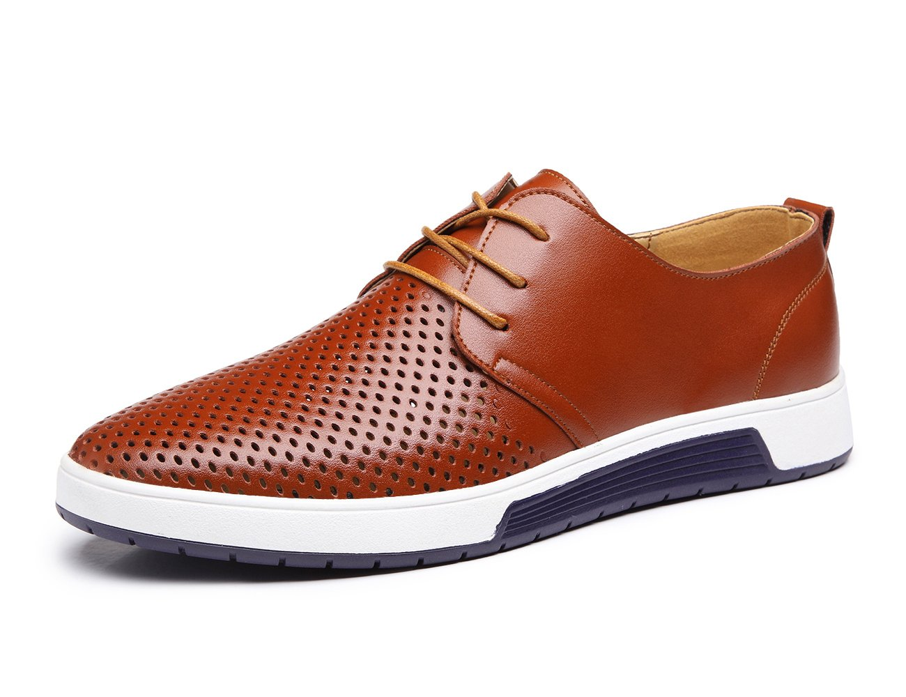 XMWEALTHY Men's British Style Breathable Flat Dress Shoes Brown US 11.5