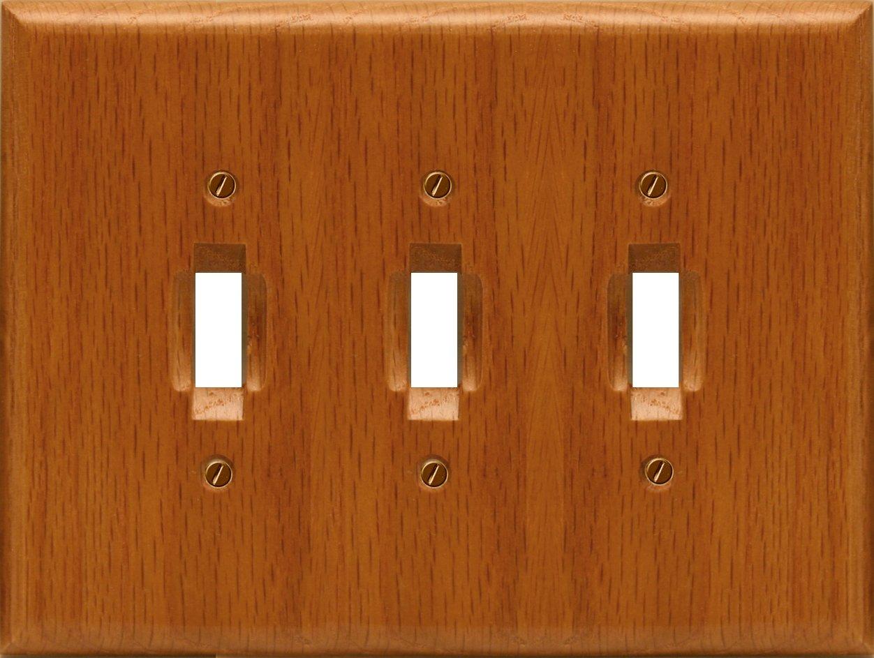 Runwireless Traditional Light Oak Wood, Switch plate, Wall plate, Cover, 4-430 (Triple Toggle 4-430TTT)