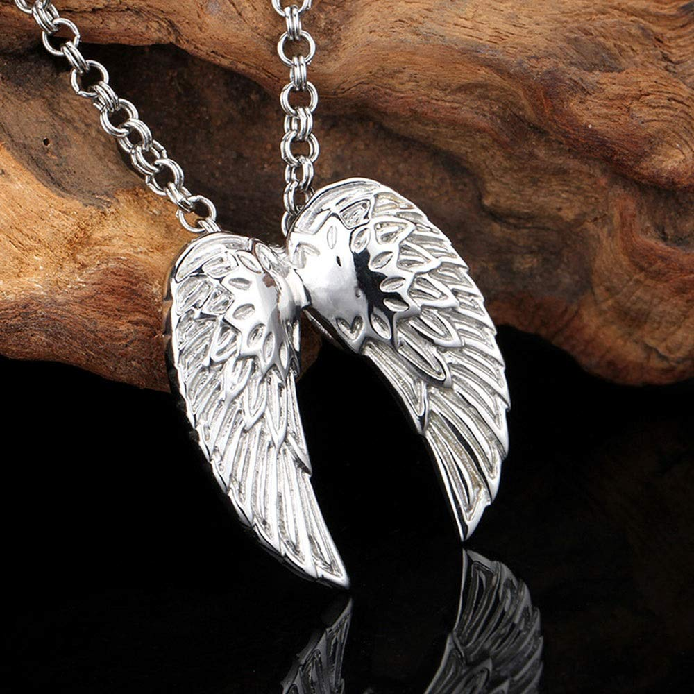 Color : Silver Black, Size : 4037MM HANXIAODONG Mens Silver Gothic Pendant Stainless Steel Wing Pendant DIY Jewelry /Birthday Gift