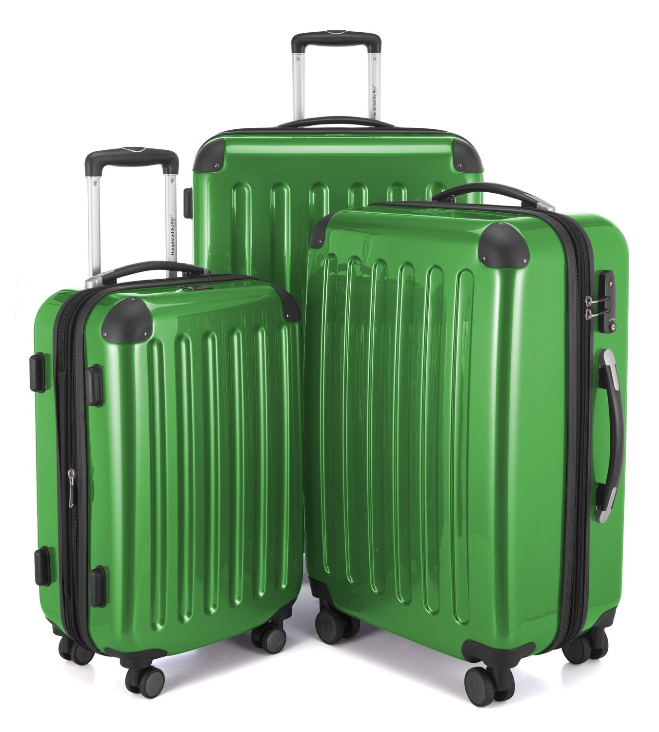 HAUPTSTADTKOFFER Luggages Sets Glossy Suitcase Sets Hardside Spinner Trolley Expandable (20'', 24'' & 28'') TSA (3 pcs/20''24''28'', Alex Green)
