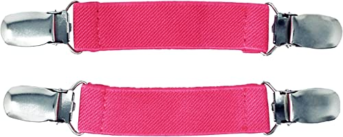 Elastic Mitten Clips for Kids Gloves and Adults - Tight Steel Grip Glove Clips (Black, Pink, or Blue)