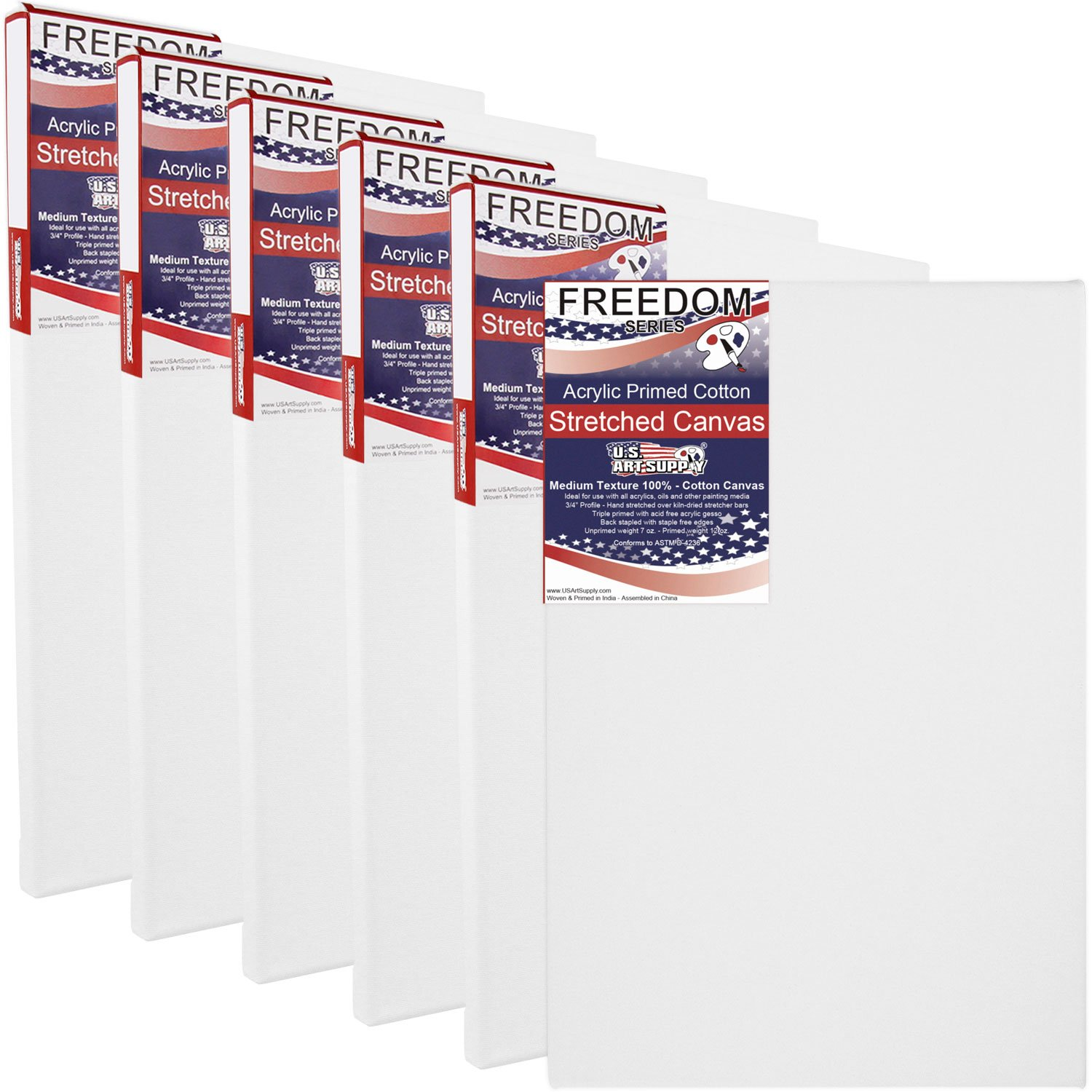 US Art Supply 18 x 24 Inch Professional Quality Acid-Free Stretched Canvas 6-Pack - 3/4 Profile 12 Ounce Primed Gesso - (1 Full Case of 6 Single Canvases)