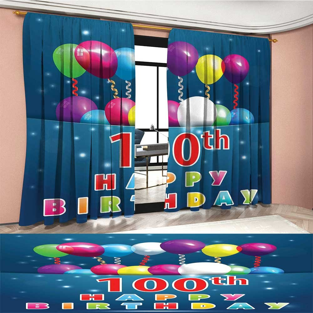 100th Birthday Window Curtain Drape Colorful Balloons on Star Like Dots 100 Years Birthday Festivity Decorative Curtains For Living Room Blue and Dark Blue