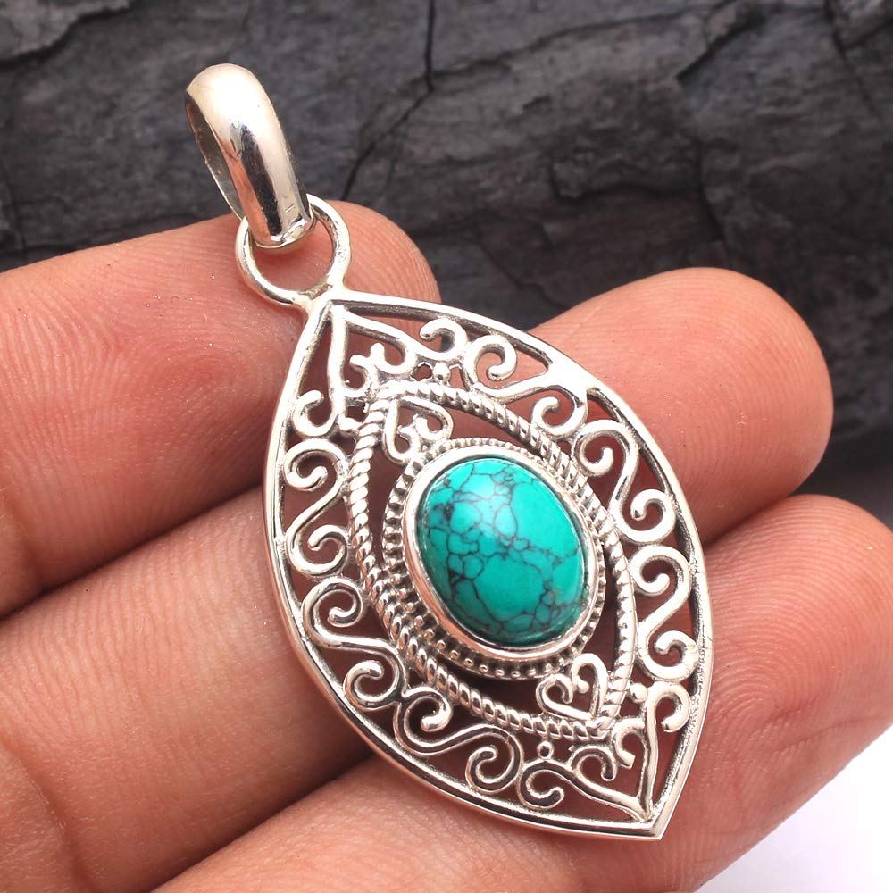 Vintage Oval Turquoise /& Sterling Silver Pendant
