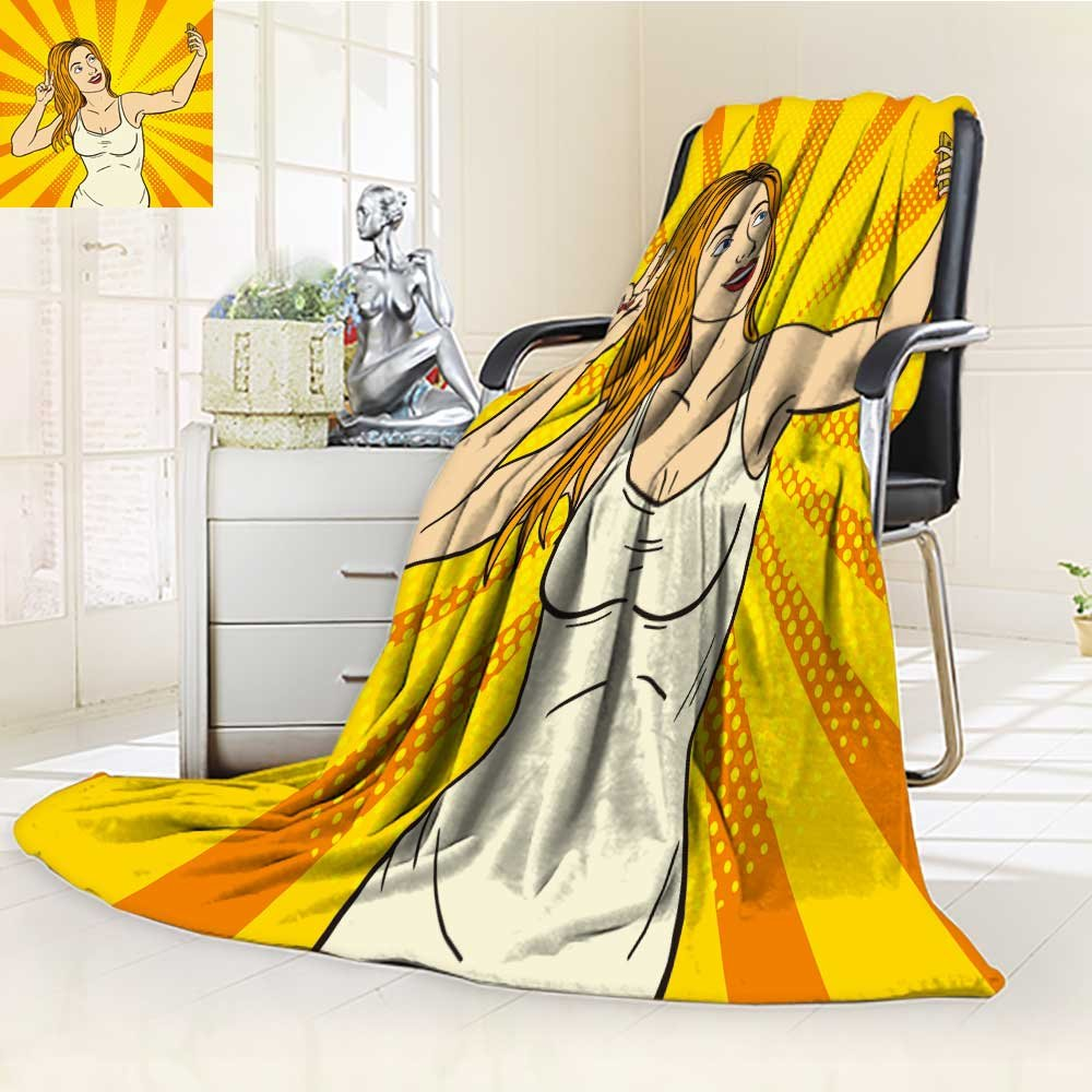 Fleece Blanket 300 GSM Anti-static Super Soft cute girl taking a selfie pop art style Warm Fuzzy Bed Blanket Couch Blanket(60''x 50'')