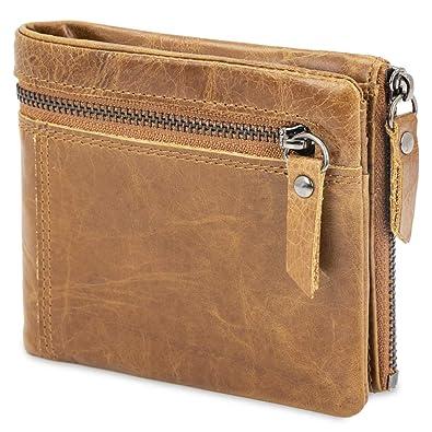 90f839708d4a9c bluzelle Echt-Leder Brieftasche mit RFID Blocker - Kompakte Herren Geldbörse  mit Außenfach, Münzfach