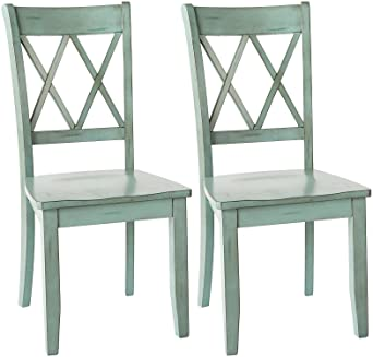 Amazon.com: Ashley Furniture Signature Design   Mestler Dining Room Side  Chair   Wood Seat   Set Of 2   Blue/Green: Kitchen U0026 Dining
