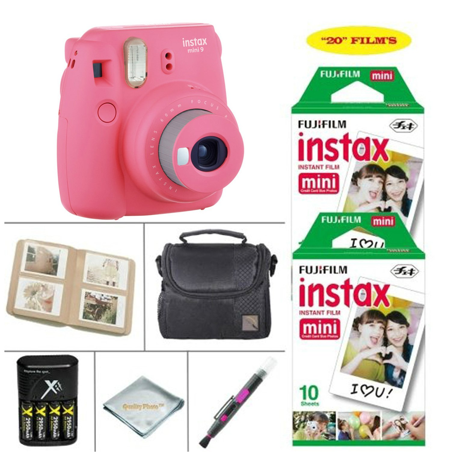 Fujifilm Instax Mini 9 Instant Camera (Flamingo Pink) + Fujifilm Instax Instant Film 20 Sheets + 4 Batteries & Charger + Photo Album + Convenient Case + MORE