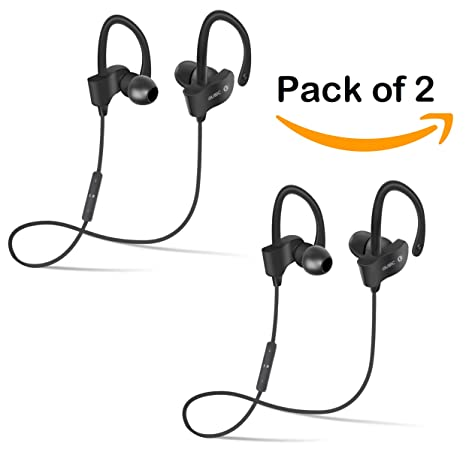 TECHPOOL QC-10 Bluetooth Earphone Wireless Headphones Handsfree with Mic  Suitable for Running & Gyming Bluetooth Headsets Compatible with iOS Adroid  &