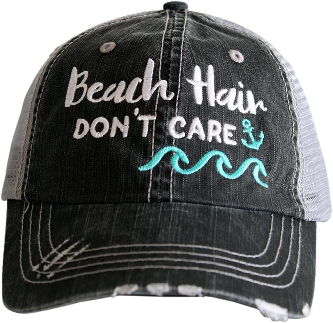 Katydid Beach Hair Don't Care Women's Distressed Grey Trucker Hat