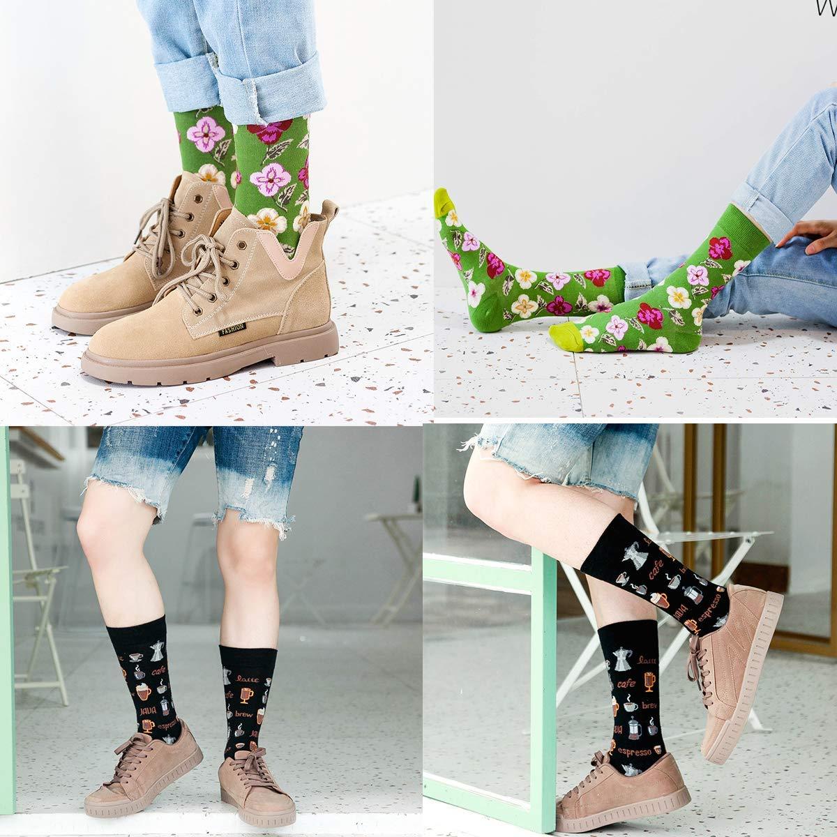 Longyangqk Calcetines para hombre Calcetines de vestir coloridos Paquete de 6 Hombres Mujeres Ni/ños Ni/ña Algod/ón Calcetines estampados de moda