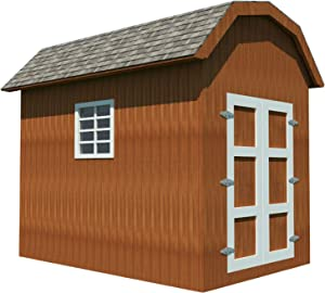Storage Shed Plans DIY Backyard Utility House Building Plan Gambrel Roof 8'x12'