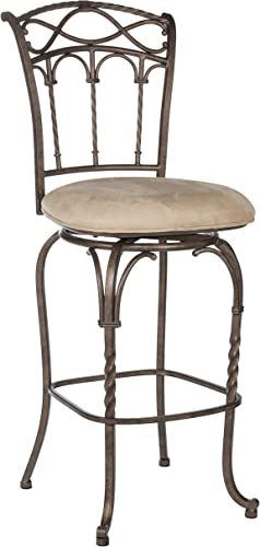 Hillsdale Kendall 26-Inch Counter Stool, Pewter and Bronze Highlighted Finish with Beige Faux-Suede Fabric