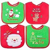 Bavaglino di Natale, primi regali per bambini di Natale, 4 pezzi Bavaglini di diversi modelli impermeabili, primo bavaglino di Natale per neonati Neonati e bambini piccoli