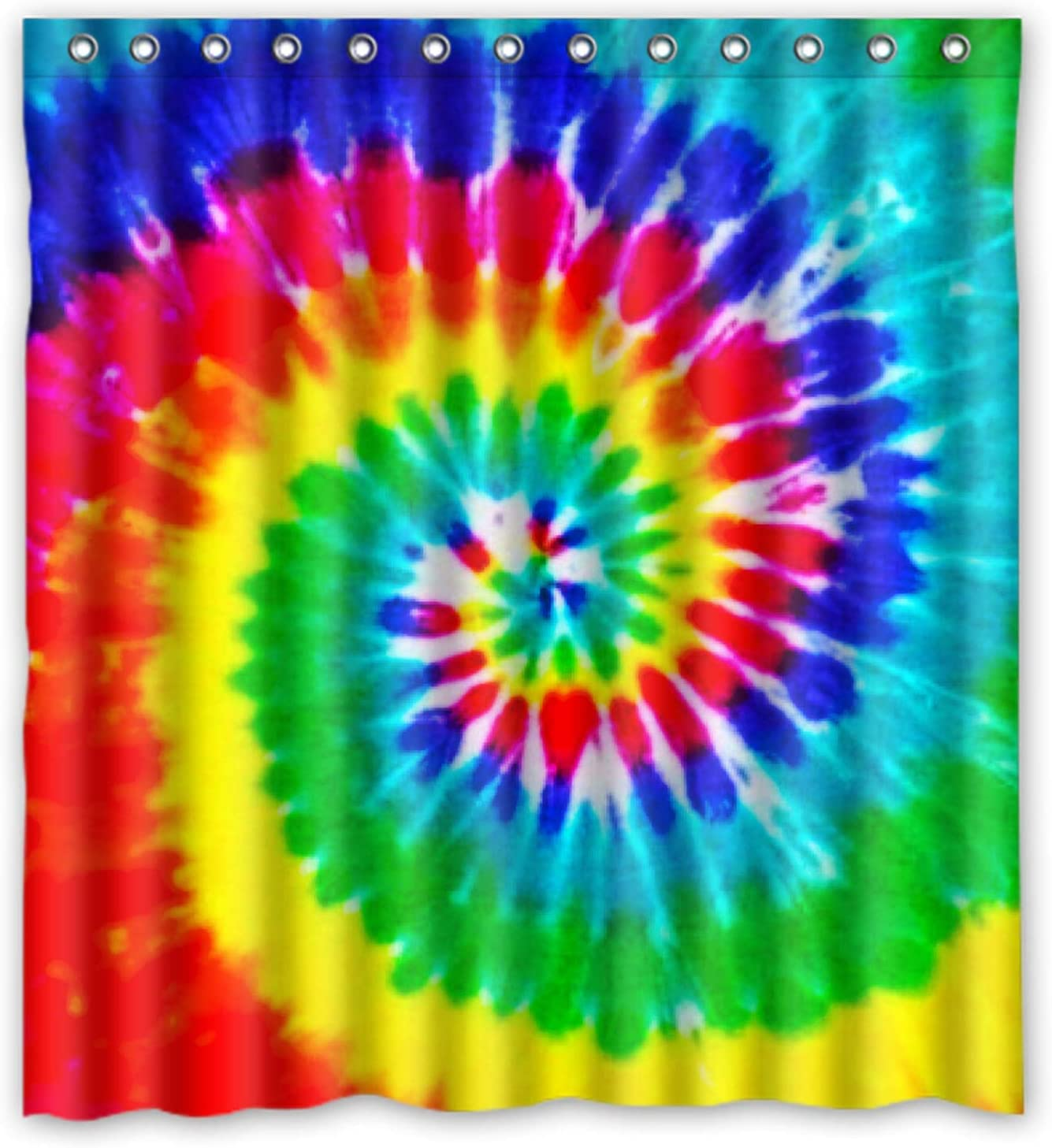 12 COLORFUL~SHOWER CURTAIN~HOOKS Retro~PEACE sign~Red~green~orange~purple LOVE