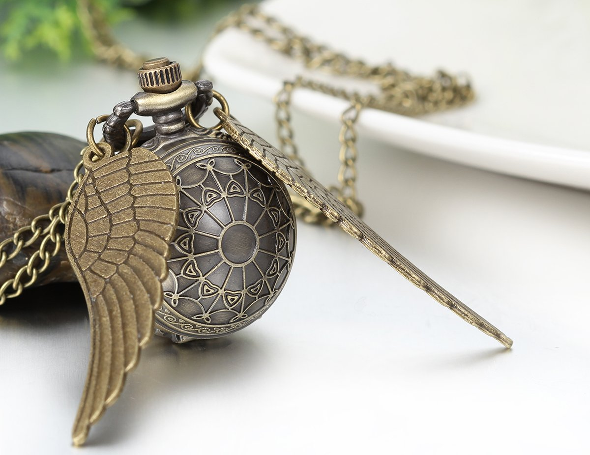 JewelryWe Vintage Retro Angel Wing Legendary Flying Ball Pendant Necklace Steampunk Pocket Watch (with Gift Bag) by Jewelrywe (Image #3)