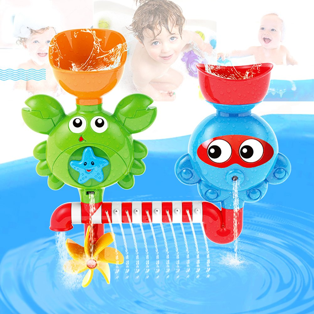 Fiouni Baby Bath Toy Set Interactive Waterfall Water Station Bathtub Toys with Suction Cups for Kids 18 Months & up
