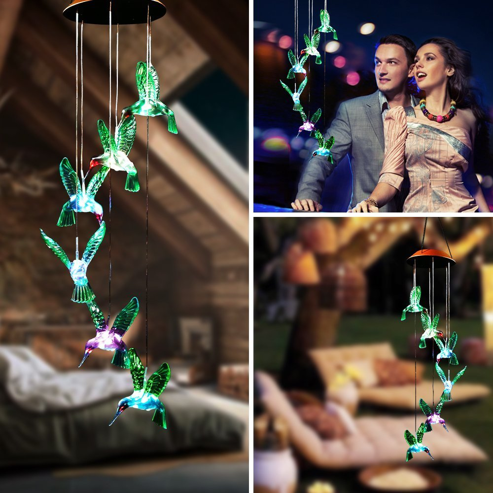 BALANSOHO Solar Mobile Wind Chimes 6 Green Birds Color-Changing Waterproof LED Hanging Lamp Night Lights for Outdoor Gardening Home Decoration (Birds Colorful)