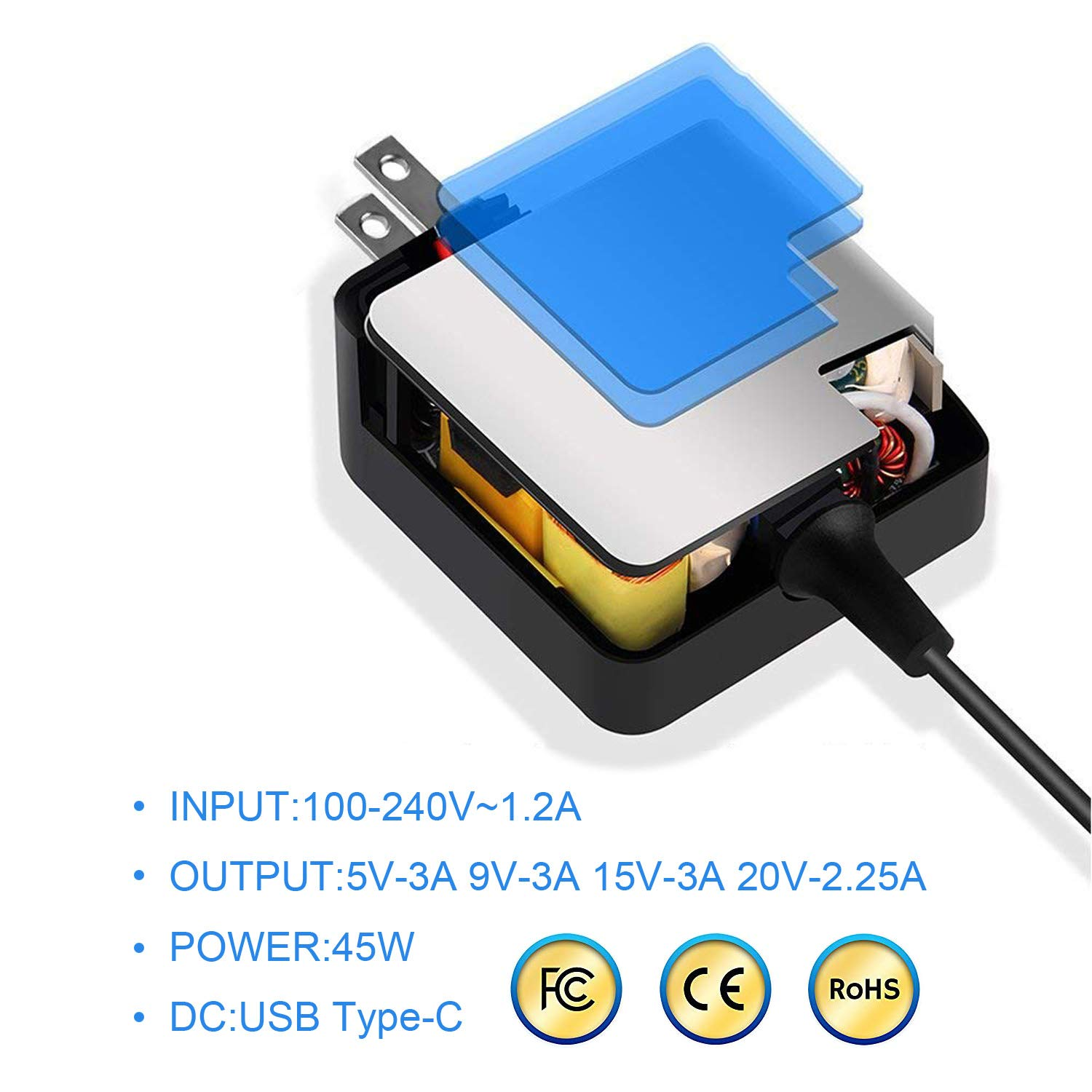 BE·SELL 20V 2.25A/45W AC Charger Adapter for Asus ADL-45A1 ADP-45EW A ADP-45EW C ADP-45XE B Asus Q325UA-BI7T18 AsusPro B9440UA-GV9102T B9440UA-GV9103T ...