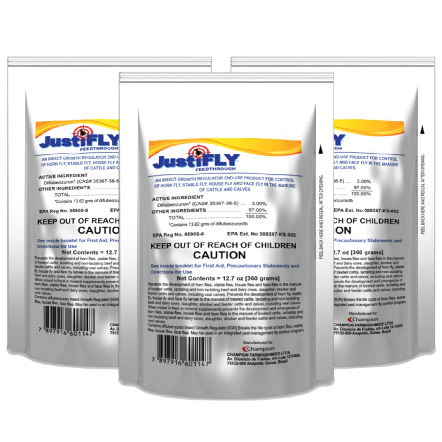 JustiFLY Champion USA Feedthrough Cattle Fly Control, 6 Pack   Non-Toxic Larvicide. Controls All Four Fly Species That Affect Cattle. Over 50 Million Head Treated