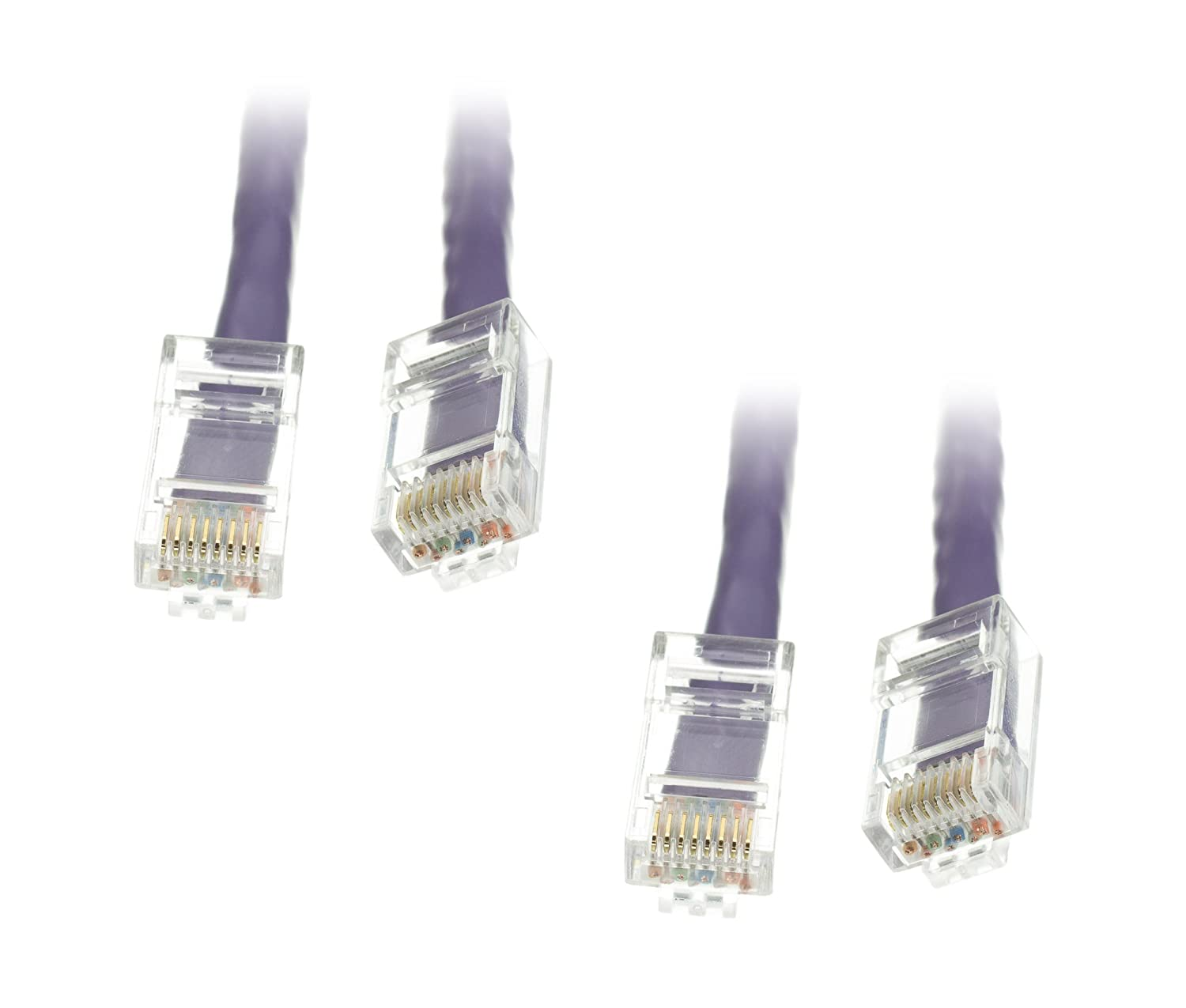 Ce 2 Pack Cat6 Ethernet Patch Cable Bootless Purple Cat5e Black 5 Foot Part Number 10x6 25 Feet Cne479052 Computers Accessories