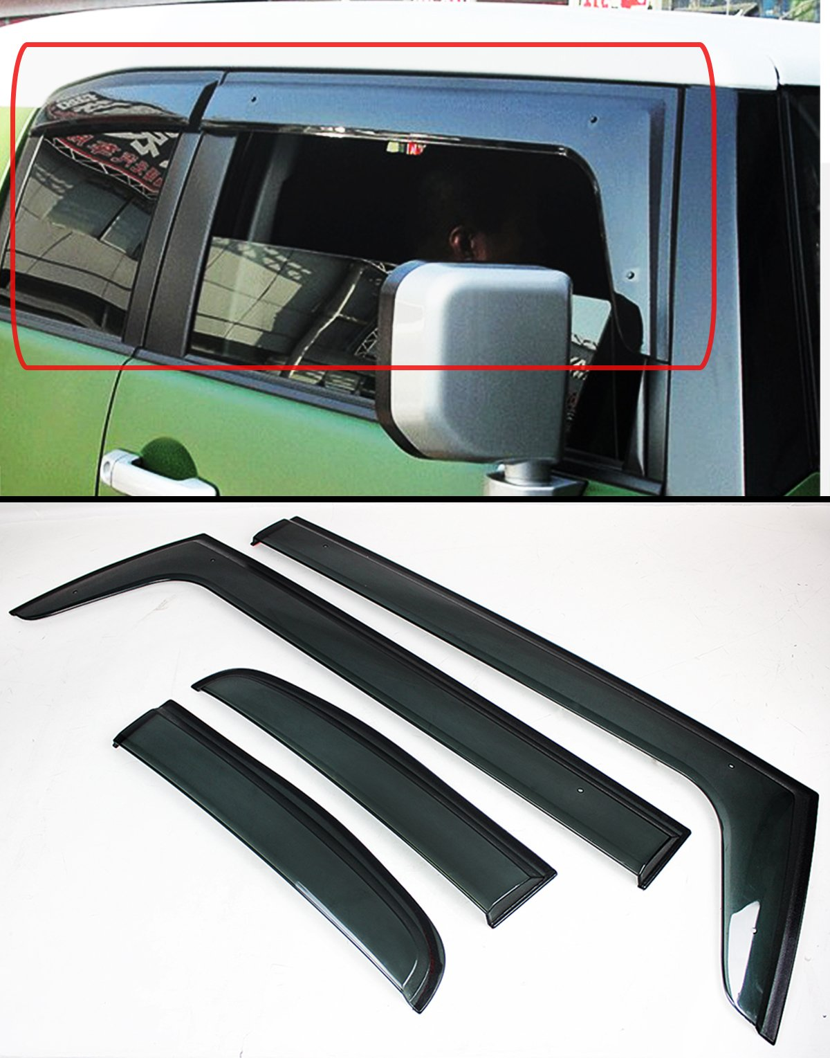 Cuztom Tuning Premium Clip-on Offroad Smoke Tinted Rain Guard Window Visor Compatible with for 2007-2014 Toyota FJ Cruiser