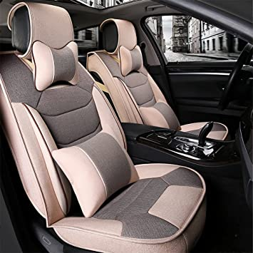 QXXZ Car Seat Covers Flax Materials Comfortable Cool Front Row Rear Full Set 5