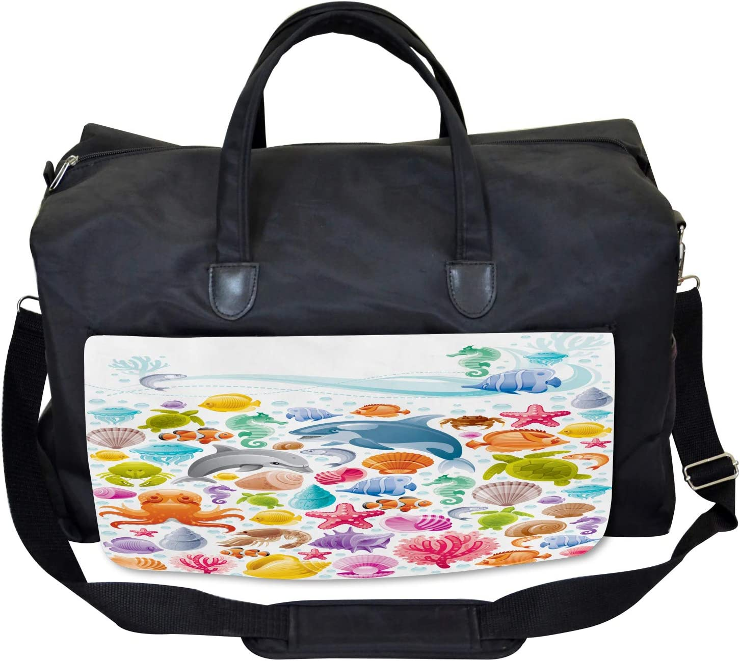 Ambesonne Gym Bag Large Weekender Carry-on Ocean Fauna Design