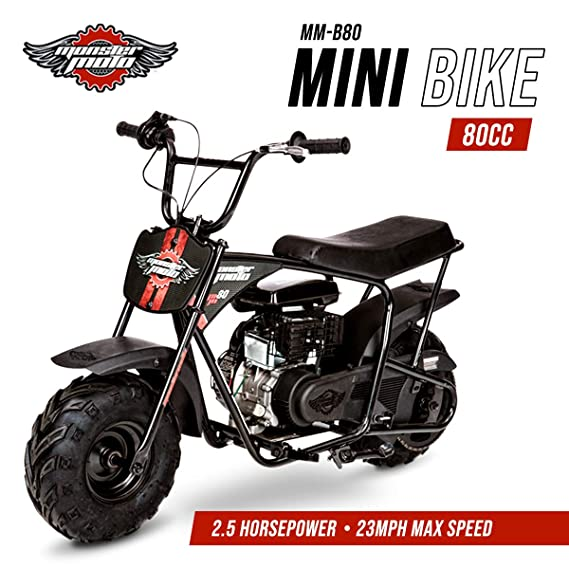 Review Monster Moto MM-B80-BR Classic Gas Mini Bike -Assembled in the USA (80CC 2.5HP Black/Red)