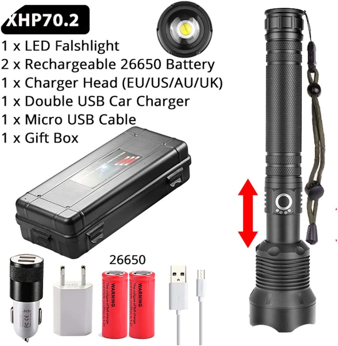 Powerful XHP50//XHP70 LED Flashlight Zoom LED Torch Light USB Rechargeable 3 Mode