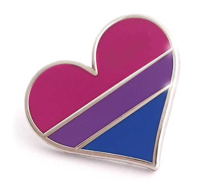 02572ecf308 Image Unavailable. Image not available for. Colour: Bisexual pride pin flag  enamel lapel heart gay ...