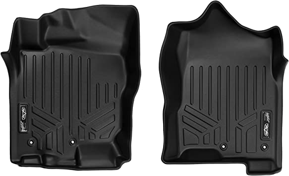 SMARTLINER Floor Mats 2nd Row Liner Black for 2017-2019 Nissan Titan 2016-2019 Titan XD Crew Cab with 1st Row Bucket Seats