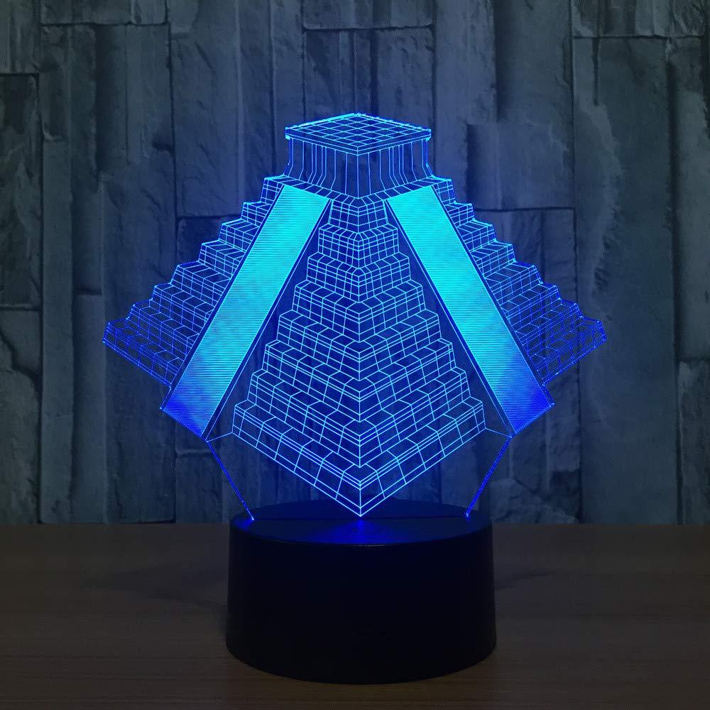 Ägyptische Pyramiden 7 Farbe Lampe 3D Visuelle Led-Nachtlichter für Kinder Touch USB Tisch Lampara Lampe Baby Schlafen Nachtlicht
