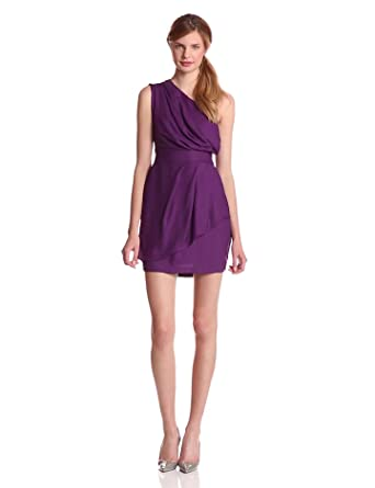 BCBGeneration Women's One Shoulder Dress, Dark Violet, 0
