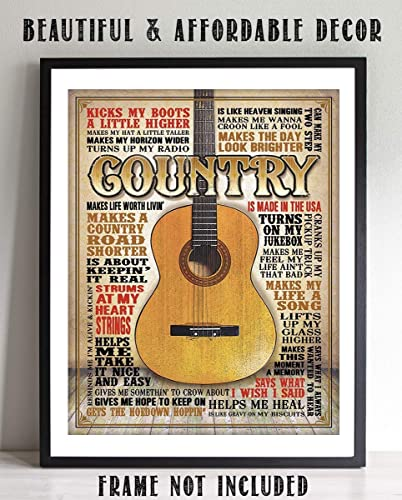 Amazoncom Country Music Guitar Quotes Wall Art 8 X 10 Funny