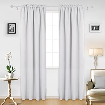 Deconovo Blackout Curtains Bedroom White For 42W X 95L Inch Greyish