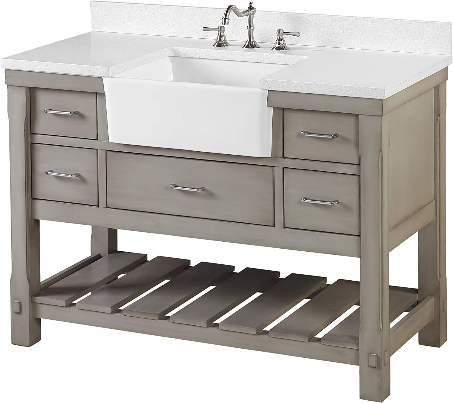 Amazon Com Charlotte 48 Inch Bathroom Vanity Quartz Weathered Gray Includes Weathered Gray Cabinet With Stunning Quartz Countertop And White Ceramic Farmhouse Apron Sink Kitchen Dining