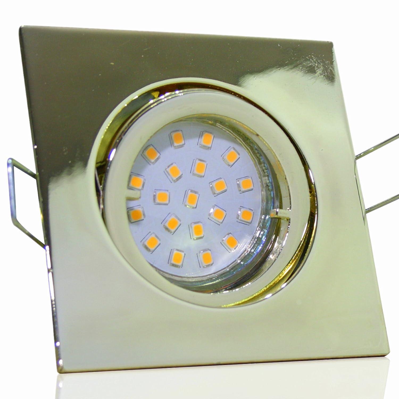 5 Stück SMD Modul Einbauleuchte Cube 230 Volt 7 Watt Schwenkbar Gold Neutralweiß