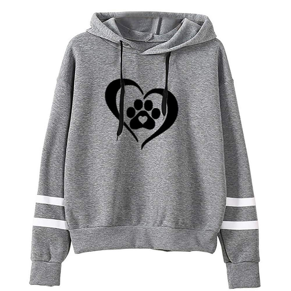 Ulanda Womens Fashion Print Long Sleeve Hoodies Hooded Sweatshirt Pullover Tops