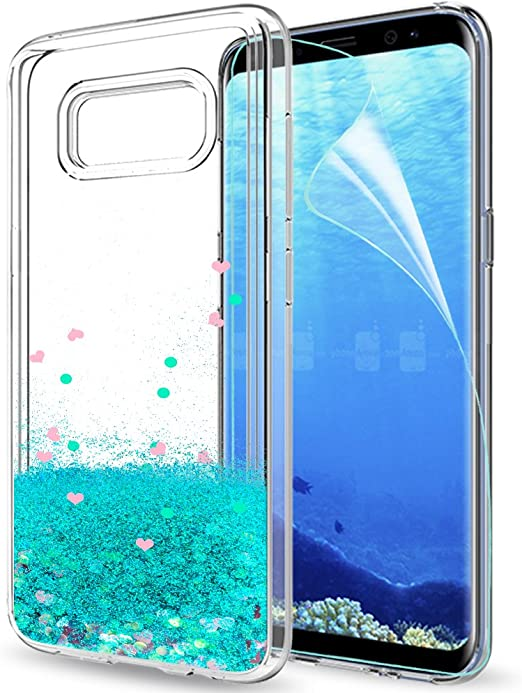 Samsung S8 Case, Galaxy S8 Coque Etui Glitter Cell Phone Case for Girls Women, LeYi Cute Clear Design Bling Quicksand Liquid TPU Silicone Protective ...