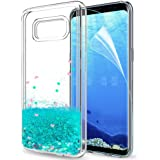 LeYi Custodia Galaxy S8 Glitter Cover con HD Pellicola,Brillantini Trasparente Silicone Gel Liquido Sabbie Mobili Bumper TPU Case per Samsung Galaxy S8 Telefonino Donna ZX Turquoise