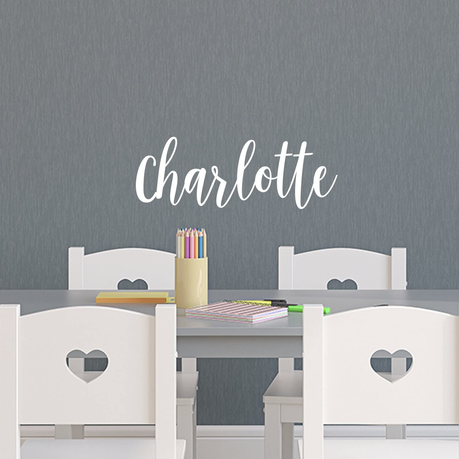"""Vinyl Wall Art Decal Girls Name - 'Charlotte' Text Name - 12"""" x 39"""" - Girls Bedroom Vinyl Wall Decals - Cute Wall Art Decals for Baby Girl Nursery Room Decor (12"""" x 33"""", White Cursive)"""