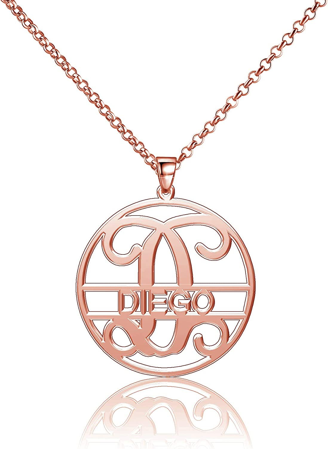 Moonlight Collections Diego Necklace Silver 925 Pendants Personalized Monogrammed Name Plates